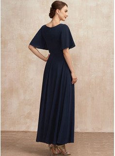 A-Line V-neck Ankle-Length Mother of the Bride Dress With Ruffle
