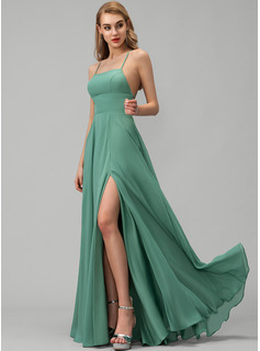 A-Line Square Neckline Floor-Length Chiffon Prom Dresses With Split Front Pockets