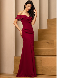 Sheath/Column Off-the-Shoulder Floor-Length Chiffon Bridesmaid Dress With Split Front Cascading Ruffles