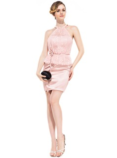Sheath/Column Scoop Neck Short/Mini Charmeuse Lace Cocktail Dress With Beading Flower(s) Sequins Cascading Ruffles