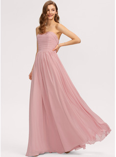 Strapless Off-the-Shoulder Floor-Length Chiffon Bridesmaid Dress With Ruffle Bow(s)