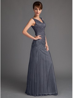 A-Line/Princess V-neck Floor-Length Tulle Mother of the Bride Dress With Beading Sequins