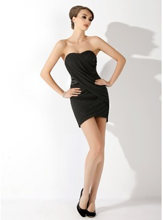 Sheath/Column Sweetheart Short/Mini Chiffon Cocktail Dress With Ruffle Beading