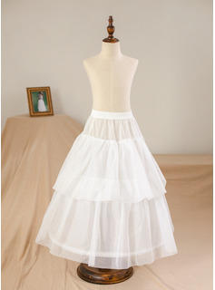 Floor-length Flower Girl Dress - Satin Tulle Sleeveless Scoop Neck With Beading Flower(s) (Petticoat NOT included)