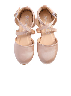 Girl's Round Toe Closed Toe Silk Like Satin Flats Sneakers & Athletic Flower Girl Shoes With Velcro