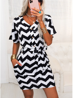 Striped Sheath V-Neck Short Sleeves Midi Casual Dresses