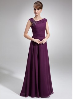 Off-the-Shoulder Floor-Length Chiffon Mother of the Bride Dress With Ruffle Beading