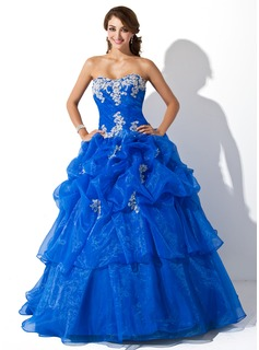 Sweetheart Floor-Length Organza Quinceanera Dress With Ruffle Appliques Lace Sequins