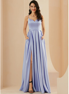 A-Line Sweetheart Floor-Length Satin Prom Dresses With Split Front Pockets