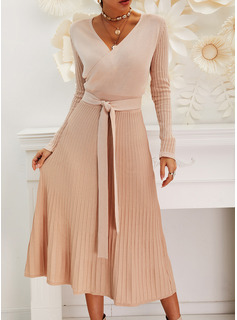 Solid V-Neck Long Sleeves Casual Long Sweater Dress Dresses
