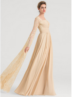 A-Line/Princess Square Neckline Floor-Length Chiffon Evening Dress With Ruffle Beading