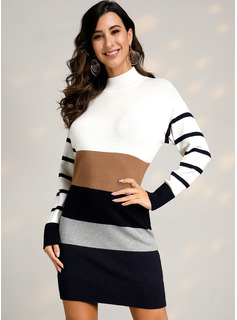Color Block Striped Cable-knit Polyester Stand Collar Pullovers Sweater Dresses Sweaters