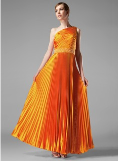 A-Line/Princess One-Shoulder Floor-Length Charmeuse Evening Dress With Beading Pleated