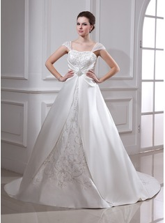 Ball-Gown Square Neckline Court Train Satin Organza Wedding Dress With Embroidered Ruffle Beading
