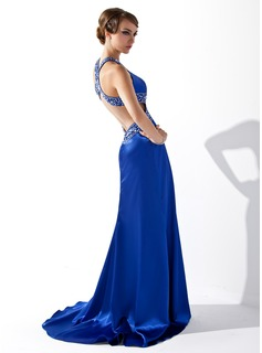 A-Line/Princess V-neck Sweep Train Charmeuse Prom Dresses With Beading Sequins Split Front