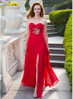 Empire Sweetheart Floor-Length Chiffon Prom Dresses With Ruffle Beading Split Front