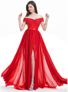 A-Line Off-the-Shoulder Sweep Train Chiffon Evening Dress With Ruffle Split Front