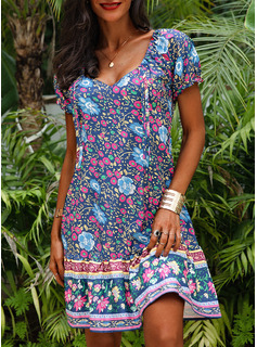 Floral Print A-line V-Neck Short Sleeves Midi Boho Casual Vacation Skater Dresses