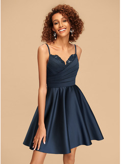 A-Line V-neck Short/Mini Satin Homecoming Dress With Ruffle Beading Sequins