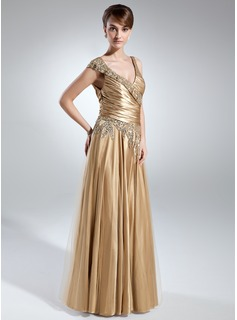 A-Line/Princess V-neck Floor-Length Charmeuse Mother of the Bride Dress With Ruffle Beading