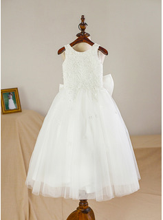 Tea-length Flower Girl Dress - Satin Tulle Sleeveless Scoop Neck
