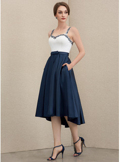 Sweetheart Asymmetrical Satin Mother of the Bride Dress With Beading Sequins Bow(s) Pockets