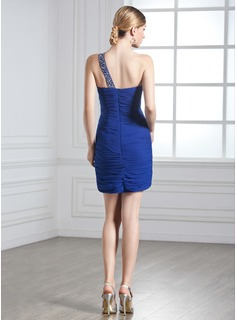 Sheath/Column One-Shoulder Short/Mini Chiffon Holiday Dress With Ruffle Beading