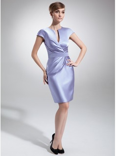 Sheath/Column V-neck Knee-Length Satin Mother of the Bride Dress With Ruffle