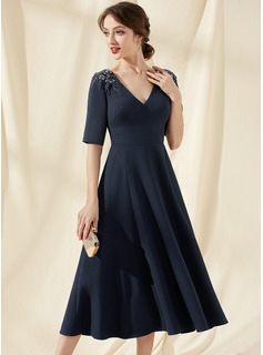 A-Line V-neck Tea-Length Stretch Crepe Cocktail Dress With Beading
