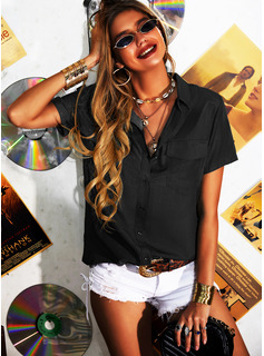 Regular Solid Button Up Casual Short Sleeves