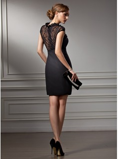 Sheath/Column Sweetheart Short/Mini Chiffon Lace Cocktail Dress