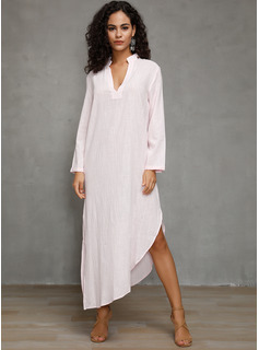 Linen With Solid/Slit Maxi Dress