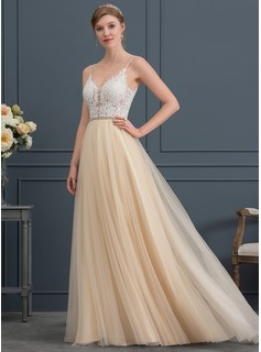 V-neck Sweep Train Tulle Wedding Dress With Beading