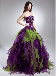 Ball-Gown Scalloped Neck Floor-Length Organza Quinceanera Dress With Beading Cascading Ruffles