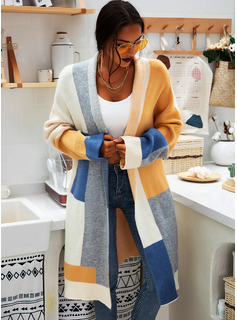 Patchwork Chunky knit Polyester Cardigans Sweaters