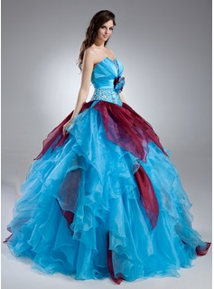 Ball-Gown Scalloped Neck Floor-Length Organza Quinceanera Dress With Beading Flower(s) Cascading Ruffles