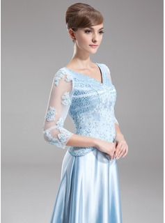 A-Line/Princess V-neck Sweep Train Charmeuse Mother of the Bride Dress With Beading Appliques Lace Sequins