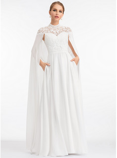 A-Line High Neck Floor-Length Chiffon Evening Dress