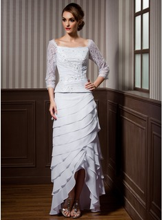 A-Line Square Neckline Asymmetrical Chiffon Wedding Dress With Lace Beading Cascading Ruffles