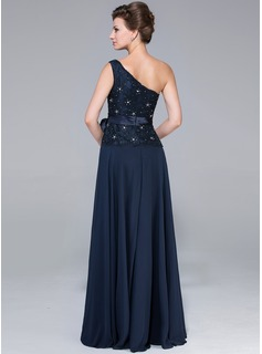 A-Line/Princess One-Shoulder Floor-Length Chiffon Lace Mother of the Bride Dress With Beading Bow(s)