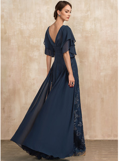Sheath/Column V-neck Floor-Length Chiffon Lace Evening Dress With Ruffle Sequins