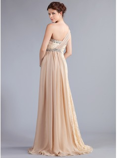 A-Line/Princess One-Shoulder Watteau Train Chiffon Lace Evening Dress With Ruffle Beading