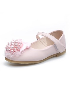 Girl's Round Toe Closed Toe Leatherette Flat Heel Flower Girl Shoes With Beading Bowknot Velcro Flower