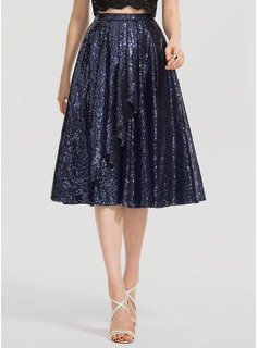 A-Line Knee-Length Sequined Prom Skirt  With Ruffle