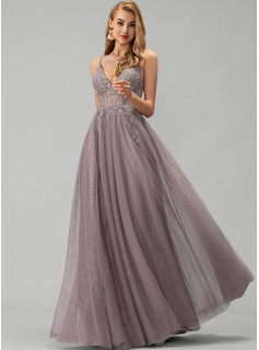 V-neck Floor-Length Tulle Prom Dresses With Lace Beading Sequins Split Front