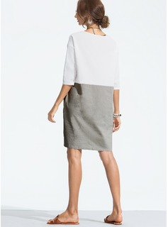 Linen With Stitching Above Knee Dress
