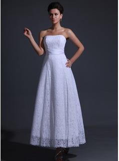 A-Line/Princess Strapless Ankle-Length Charmeuse Lace Wedding Dress With Bow(s)