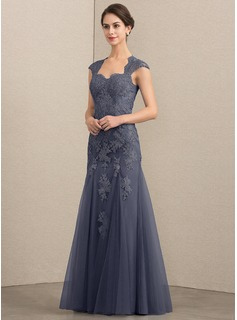 Trumpet/Mermaid Sweetheart Floor-Length Tulle Lace Evening Dress