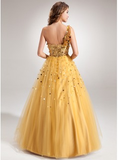 Ball-Gown One-Shoulder Floor-Length Tulle Sequined Prom Dress With Beading