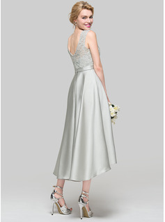 A-Line/Princess Scoop Neck Asymmetrical Satin Prom Dresses
